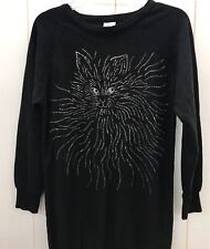 Vintage PLUMO Sweatshirt Small Crewneck Glitter Cats Kitties Tunic Long