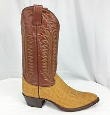New Vintage Mens Cowboy Boots Justin Brown Exotic Golden Wildebeest - 9D