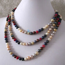 """54"""" 5-7mm Multi Color Freshwater Pearl Necklace A"""