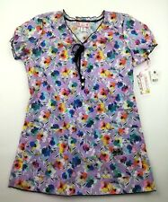 NWT Koi Limited Edition Womens XS Purple Floral Scrub Top