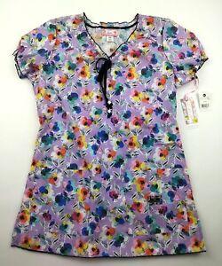 NWT Koi Limited Edition Womens XS Purple Floral Scrub Top