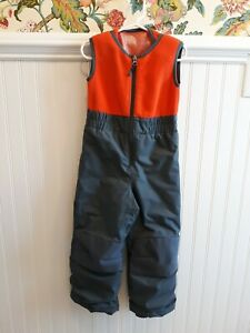 COLUMBIA XXS Snowsuit Snow Bibs 4/5 Toddler Orange/Gray Coat Jacket Snow
