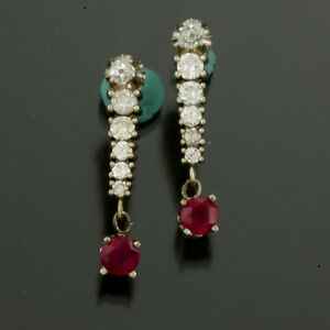 RUBY DIAMOND DROP EARRINGS   18K WHITE GOLD, 2.1 CTS TW RUBIES, 1.6 CTS DIAMONDS