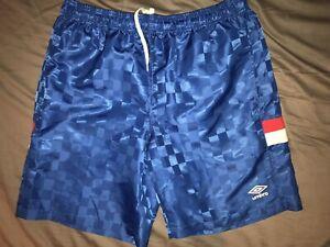 vtg 80s 90s Umbro USA Made Magenta Purple Trim Nylon Soccer Shorts adult L