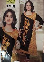 """44"""" XL Rayon Kurti Kurtis Top Tunic Kaftan Indian Bollywood Kurty Yellow J38"""