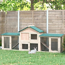 """83""""L 2-Story XL Wooden Deluxe Rabbit Bunny House Outdoor Hutch Pet Cage"""