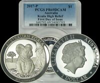 2017-P Australia Silver $1 Koala High Relief First Day of Issue PCGS PR69DCAM