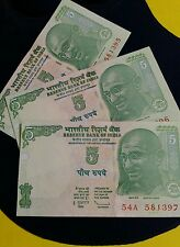 3 Notes -GANDHI - 5  Rupee India Bank Notes - GEM UNC   #can  FREE SHIPPING