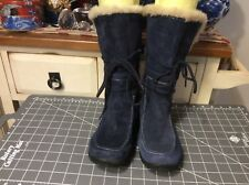 Earth Origins by Earth  Boots Mid Calf Suede Leather Zip faux fur Navy Sz 8M