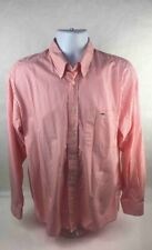 Lacoste Mens Button Down Shirt White Coral Striped Long Cuffed Sleeves Pocket 22