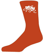 High Quality Orange Socks With Comedy And Tragedy Masks, Lovely Birthday Gift