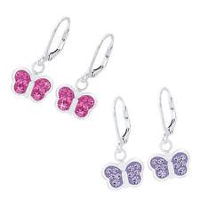 O&S Ohrringe 925 Sterling Silber Kinder Mädchen Ohrhänger Kristall Schmetterling