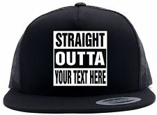 "Custom STRAIGHT OUTTA ""Your Text Here"" Baseball Snapback Hat CUSTOMIZED Your Cap"
