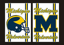 "University Of Michigan Wolverines 2-Decal Maize & Blue 5.0""x3.25"" FREE SHIPPING"
