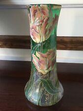 Mont Joye, Fancy Tulip Emerald on Clear, Art Glass Caked Enameled Vase, Rare.