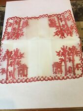 """Vintage 1970's Doily Philippines Wood And Hut House 10""""x10"""""""