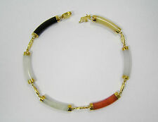 14kt Yellow Gold Multi Color Jade Bracelet