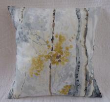 "16"" Cushion Cover Saffron Yellow Mustard Grey Cream Tree Print Handmade 40cm"
