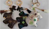 PU Bear Bunny Rabbit Bull Dog PuppyTeddy Floral Car Key Chain Bag Charm Pendant