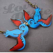 Kissing Swallows Tattoo Necklace Blue Red Rockabilly Kitsch Emo DIY