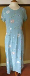 Vintage LAURA  ASHLEY Ocean Blue Floral Pattern Long Tunic Dress Size 12