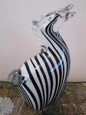 """Zebra Heavy Stylized Contemporary Art Swirl Glass Black & White Figurine, 7.75""""H"""