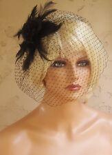 Black Headpiece, black widow fascinator,  black rose feathers,  Black veil, NEW