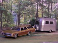 FAMILY VACATION 1969 CHEVY WAGON + AIRSTREAM CAMPER COLLECTIBLE DIORAMA MODELS