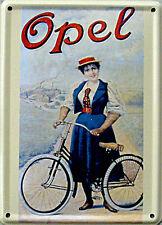 Mini-Blechschild Opel - Fahrrad, 8 x 11 cm