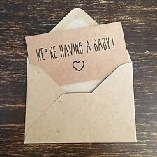 Pregnancy Announcement Cards, Pregnancy reveal, Kraft, Rustic, Vintage Style