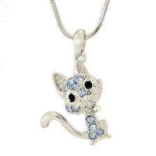"W Swarovski Crystal Cat Pet Kitten Kitty Blue Pendant Necklace Jewelry 18"" Chain"