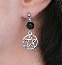 Pentacle and Black Onyx Earrings Pagan Wicca Magic Chakra Hypo-allergenic Studs