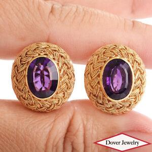 Vintage 5.70ct Amethyst 18K Gold Round Braided Stud Earrings 12.1 Grams NR