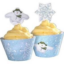 Servizio DA TAVOLA DI NATALE-PUPAZZO DI NEVE E Snowdog Festa cupcake Wrappers con Picks
