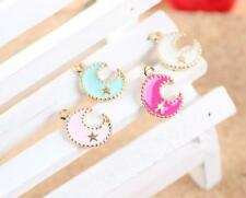 12pcs color moon stars mixed Metal Charms pendants DIY Jewellery Making crafts