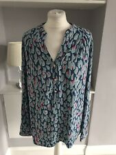 Tommy Hilfiger Blue Leopard Print Blouse Cotton Size 14