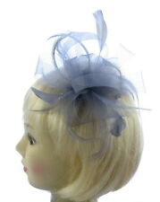 Silver Grey Mesh Fascinator with feathers for weddings, races, party