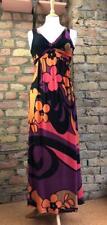 BILLIE & BLOSSOM UK8 floral retro print maxi dress empire line festival biba