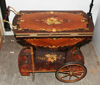 Mid Century Tea Cart Design Inlaid Instrument Rosewood MCM Dry Bar Trolly