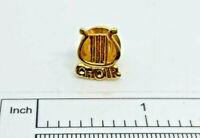 Choir Golden Harp Gold Tone Vintage Lapel Hat Vest Pin