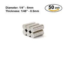 "50 Pcs. 6mmx0.5mm Strong Neodymium Disc Magnets - 6x0.5mm - 1/4""x1/48"" Magnet"