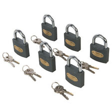 Iron Padlock Set Keyed Alike 6pk Brass Cylinder Heavy Duty Steel Security Lock