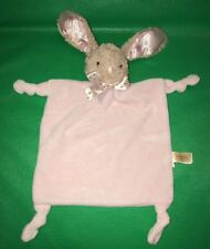 Dan Dee Baby Bunny Rabbit Lovey Rattle Easter Security Blanket Pink Knot Toy