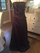 ALFRED ANGELO AUBERGINE PURPLE PROM BEADED EVENING LONG BALL GOWN DRESS 10 VGC