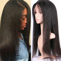 Yaki Straight 360 Lace Front Wig 100% 9A Indian Human Hair Wigs Natural Hairline