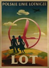 Poland with LOT, 1948, Reproduction Vintage Art Deco Travel Poster