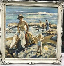 1950/60s  FRENCH IMPRESSIONIST OIL PAINTING OF FIGURES ON BEACH signed
