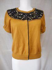Tibi Short Sleeve Cardigan Sweater Sz M Mustard Black Gold Embellished Neck Line