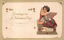 VALENTINE HOLIDAY MECHANICAL BANK CUPID WINSCH EMBOSSED POSTCARD (1914)