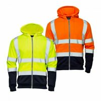 Hi Vis Viz 2 Tone Hooded Sweatshirt Hoodie Reflective Hoody Work Wear Top Jacket